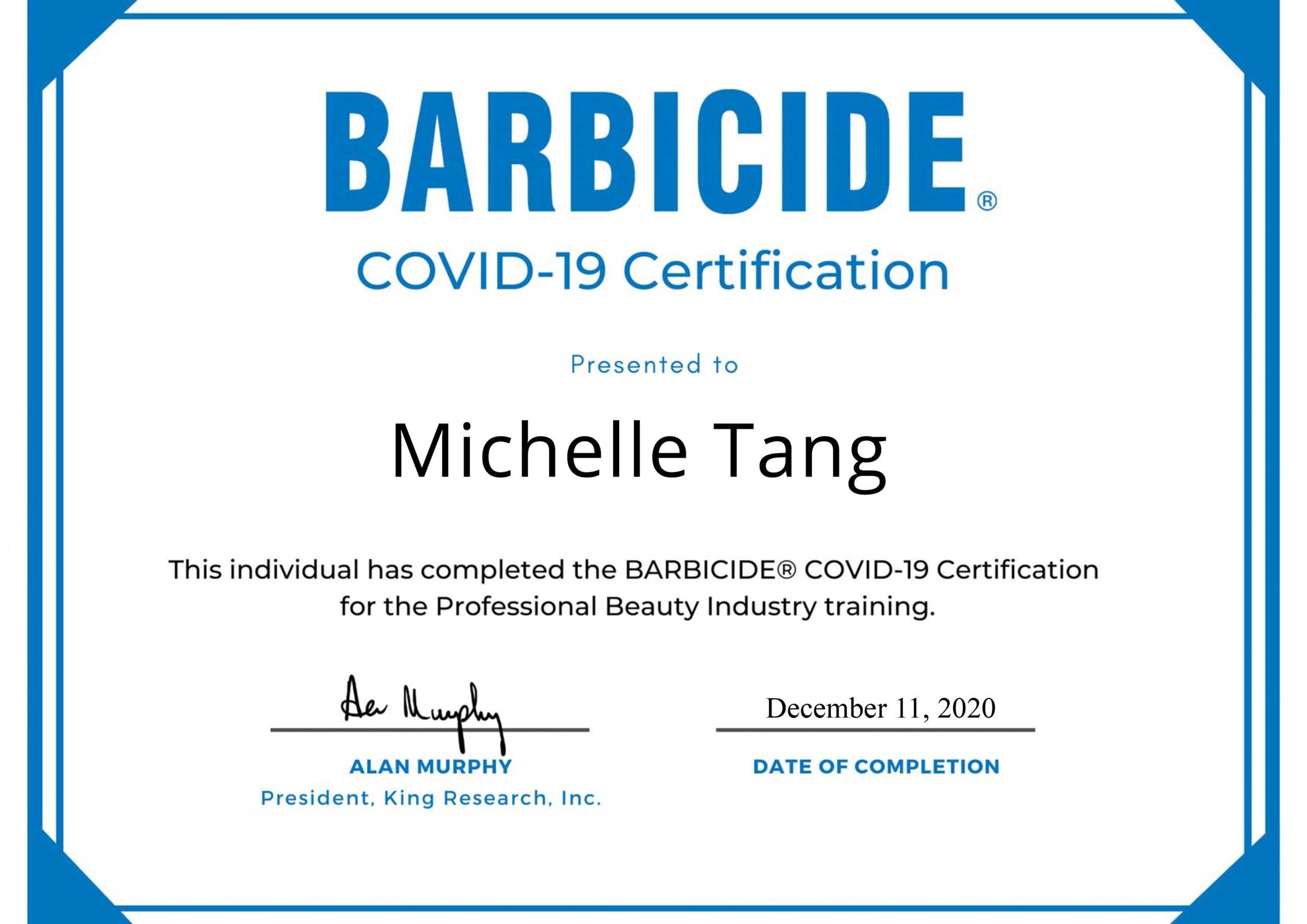 Barbicide Covid 19 Certificate