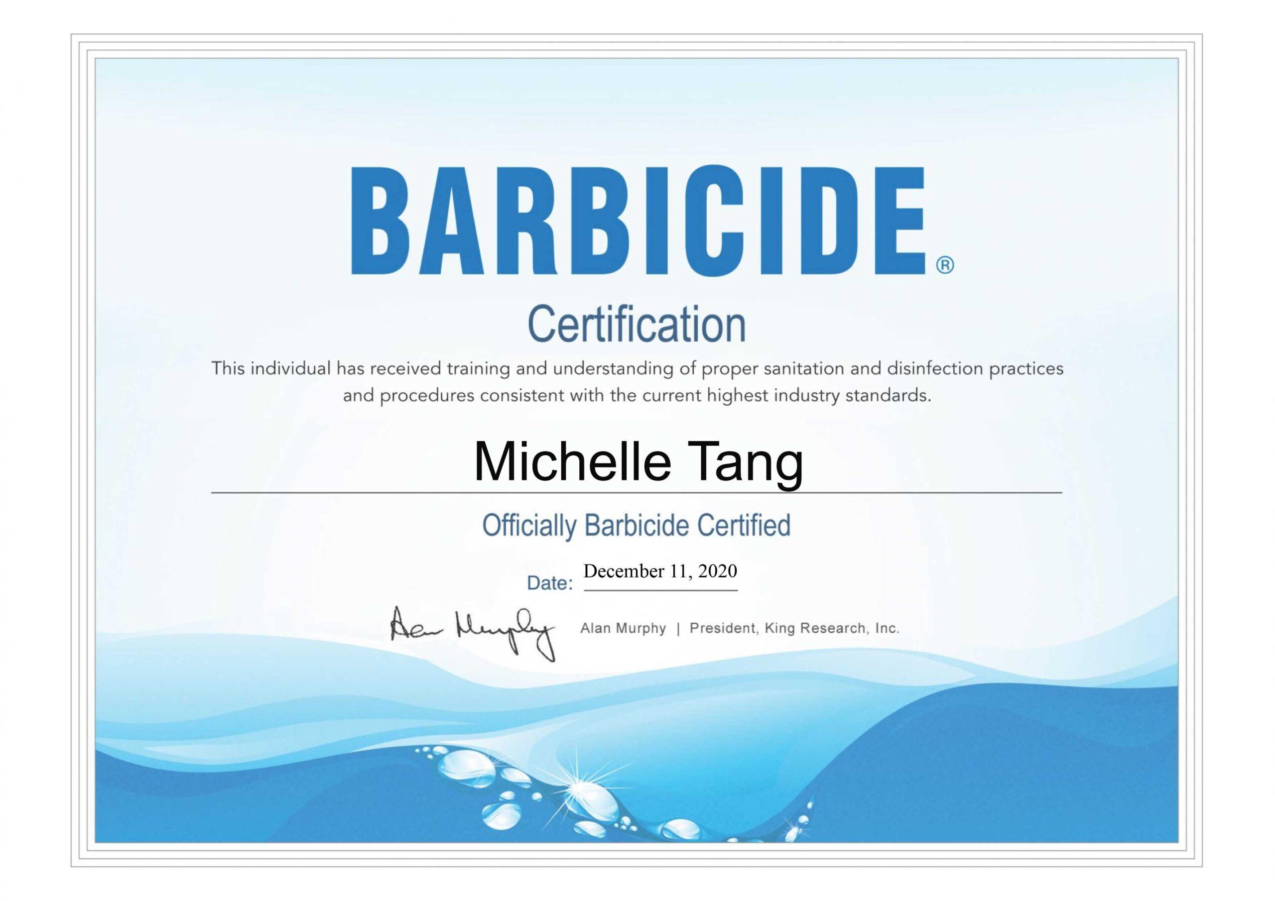 Barbicide Film Industry Certificiate