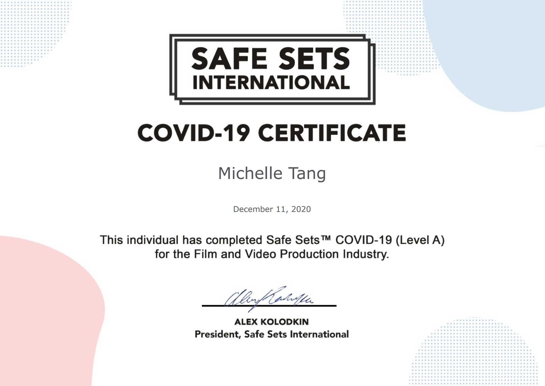 Safe Sets International Certificate